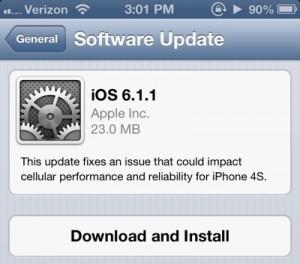 iOS 6.1.1 en iPhone 4S causa disminución de duración de batería