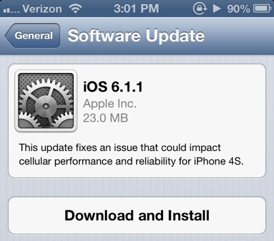 iOS 6.1.1 en iPhone 4S