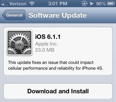 iOS 6.1.1 en iPhone 4S