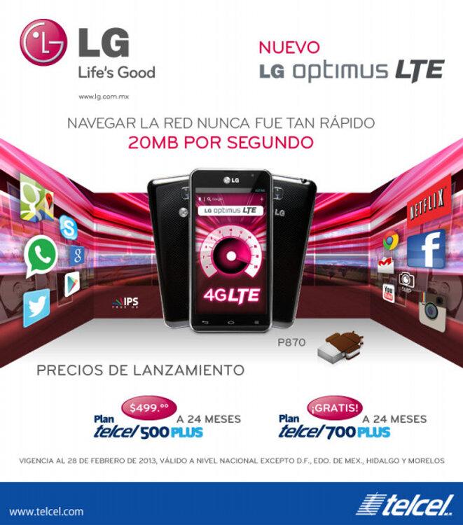 Ofertas LG Optimus LTE P870 un nuevo Android ya en México con Telcel