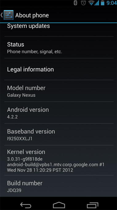 Pantalla de Nexus con Android 4.2.2 Jelly Bean