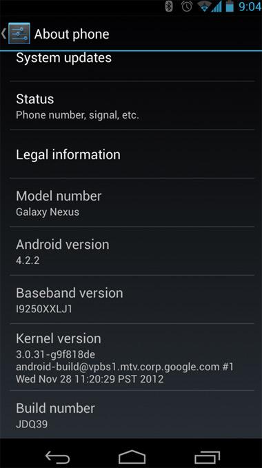 Pantalla de Nexus con Android 4.2.2 Jelly Bean