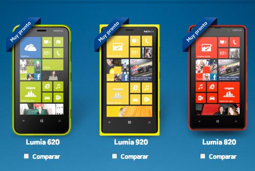 Nokia Lumia 620, Lumia 920 y Lumia 820 para México