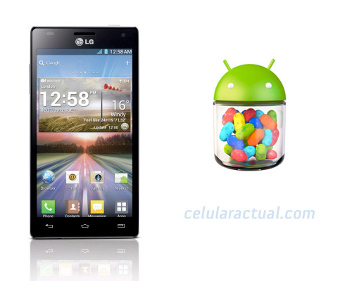 LG Optimus 4X HD con Android Jelly Bean Logo