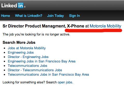 Google Motorola X-Phone empleo para jefe de proyecto