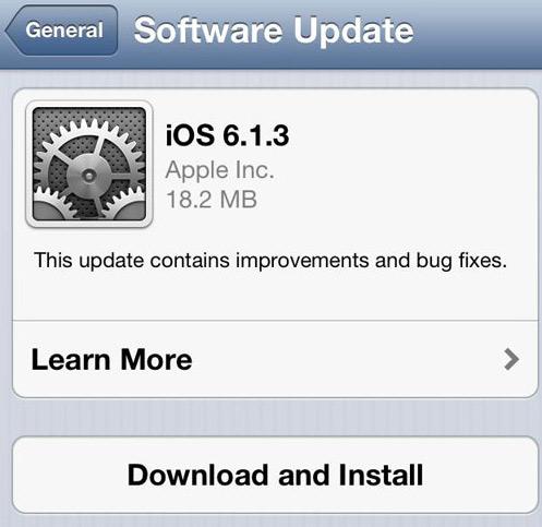 Apple iOS 6.1.3 update