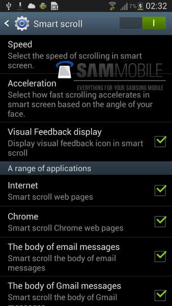 Galaxy S IV opciones Smart Scroll y Smart Play