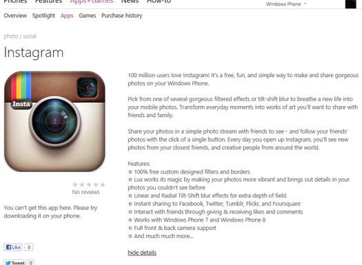 Instagram en Windows Phone imagen filtrada de Windows Store