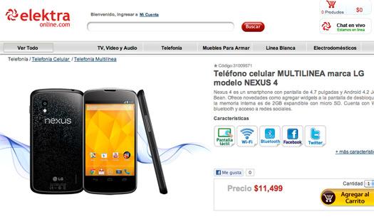 El LG Nexus 4 en modo libre en México en Elektra