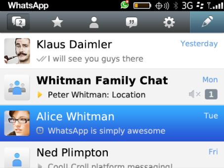 WhatsApp para BlackBerry 10 y Z10