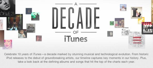Apple celebra década de iTunes con una línea del tiempo interactiva