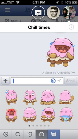 Facebook Messenger app iOS con Chat Heads y Stickers