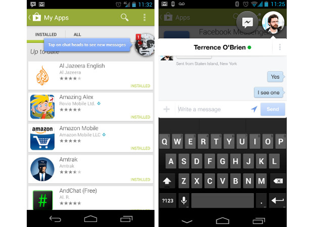 Facebook Messenger app con opción Chatheads
