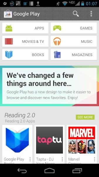 Google Play Store 4.0 rediseño