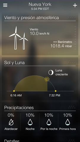 Yahoo! Weather con mejores gráficas para iPhone.