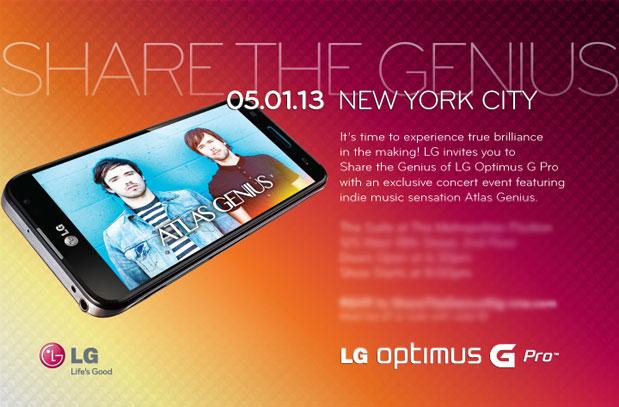 LG presentación de el Optimus G Pro el 1 de mayo en Estados Unidos Invitación
