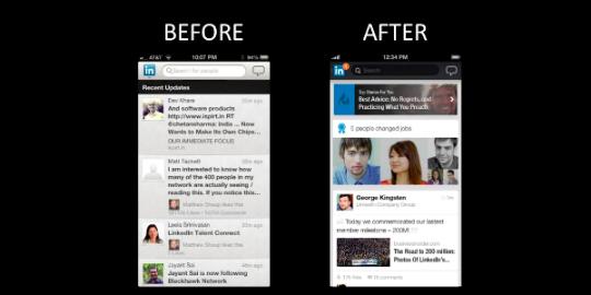LinkedIn actualiza interfaz de app para celulares.