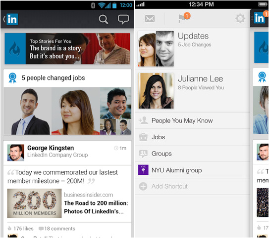 LinkedIn actualiza app para Android.