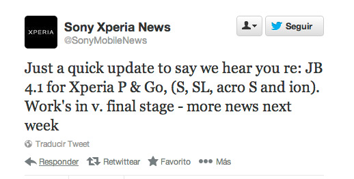 Sony Xperia S, P, Go, SL, acro S y ion twitter sobre Android 4.1 Jelly Bean