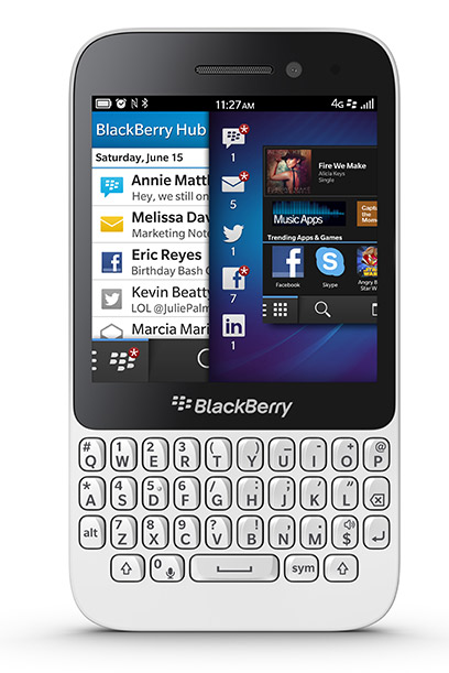 BlackBerry Q5 color blanco con 10.1 Skype