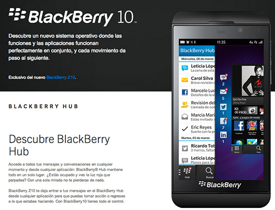 BlackBerry OS 10.1 en el Z10