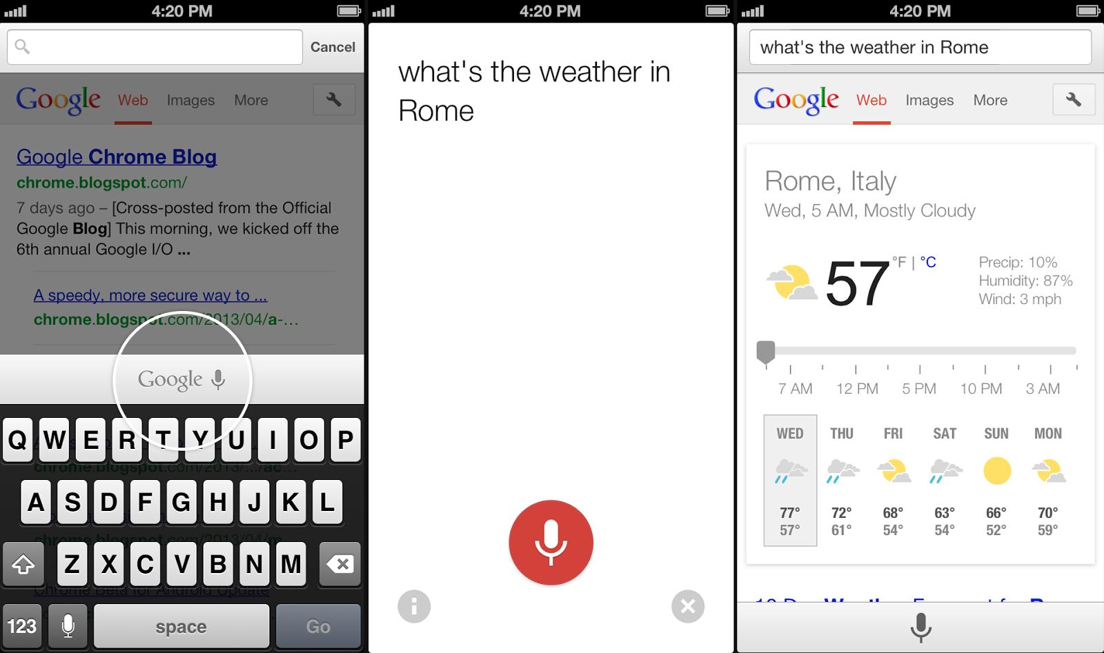 Búsquedas por voz llegarán a Chrome para iOS próximamente