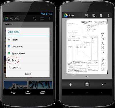 Google Drive app para Android opción Scan a PDF