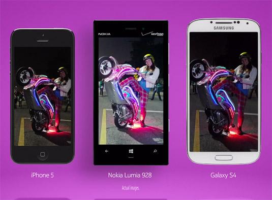 Nokia Lumia 928 contra Galaxy S4, iPhone 5 fotos con poca luz