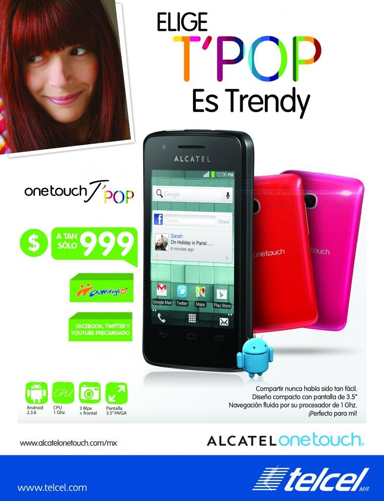 Póster El Alcatel One Touch T'Pop ya en México con Telcel a $999