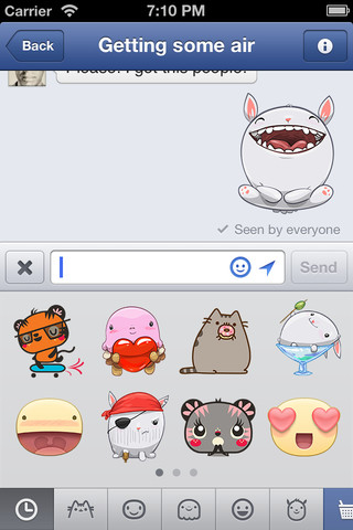 Stickers en Facebook Messenger
