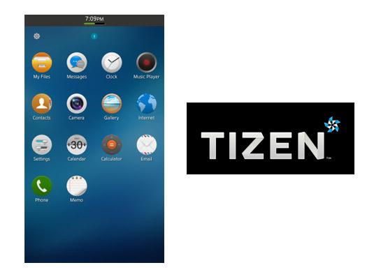 Tizen OS Logo y pantalla