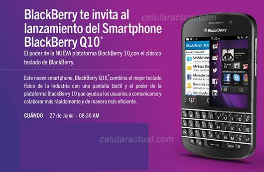 BlackBerry Q10 en México invitación 27 de junio