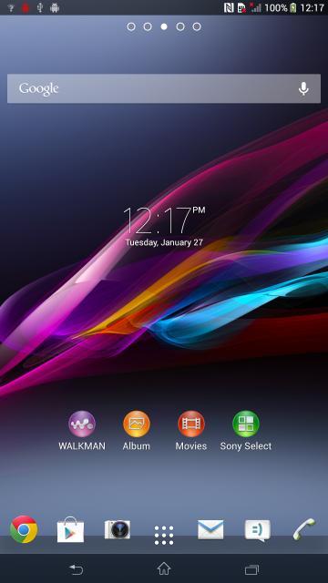 El Sony Xperia Z Ultra pantalla de inicio home