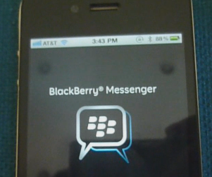 BlackBerry Messenger app en un iPhone