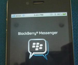 BlackBerry Messenger app en un iPhone