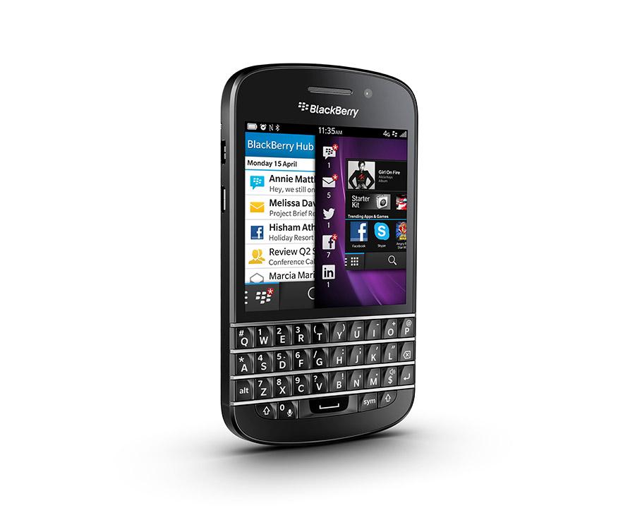 BlackBerry Q10 en México color negro de lado
