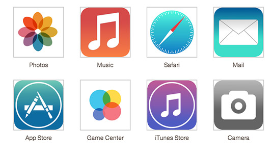 Apple iOS 7 icons recreación no oficial