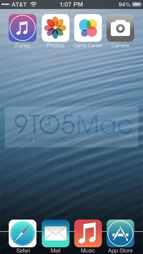 Apple iOS 7 icons recreación no oficial pantalla de inicio home