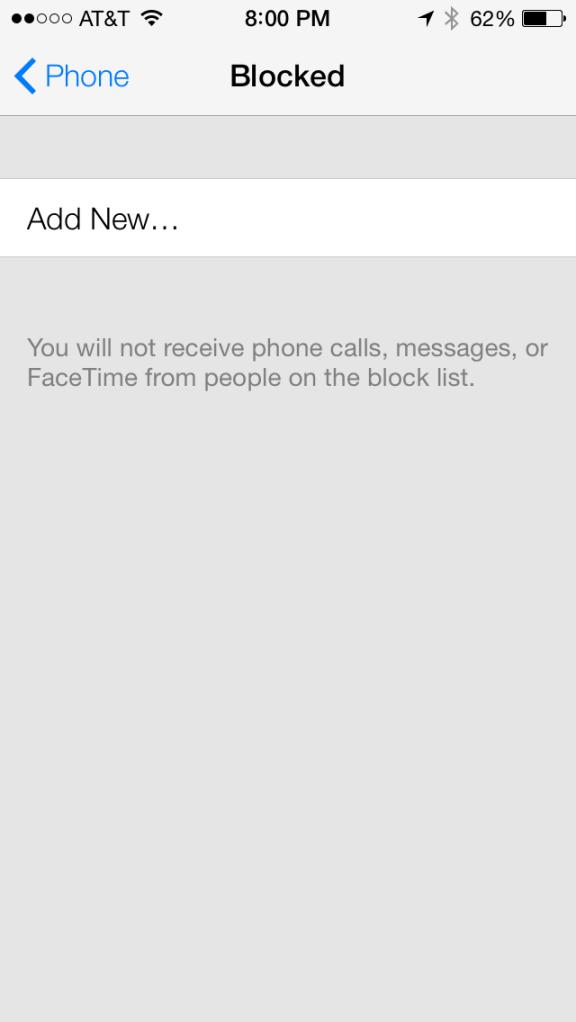 iOS 7 iPhone Call Blocking Bloqueo de llamadas y números en lista
