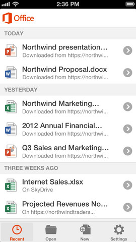 Office Mobile de Office 365 para iPhone