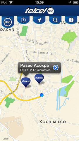 Telcel 360 App para localizar Centros de Atención a Clientes pantalla