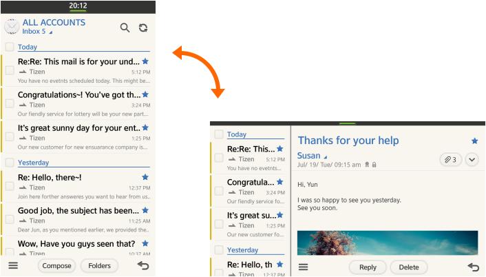 Tizen 2.1 OS screenshots cliente de email