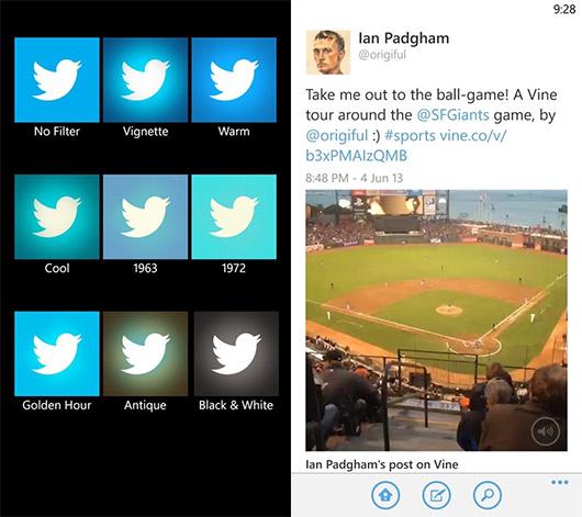 Twitter para Windows Phone se actualiza con: Foto filtros, y salvar imágenes