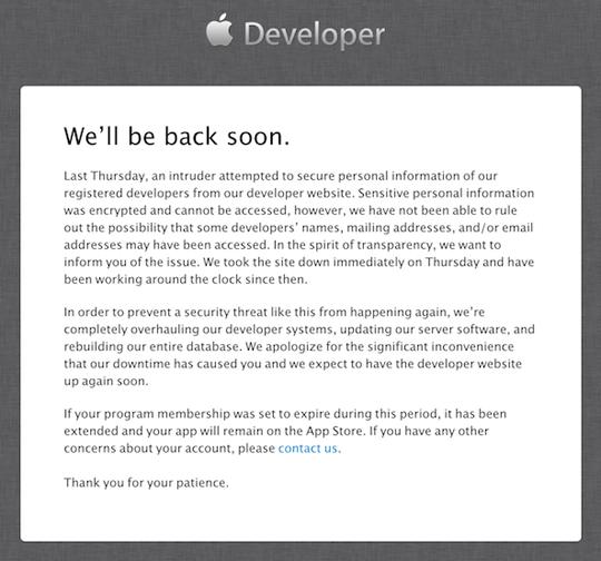Sitio de desarrolladores de Apple