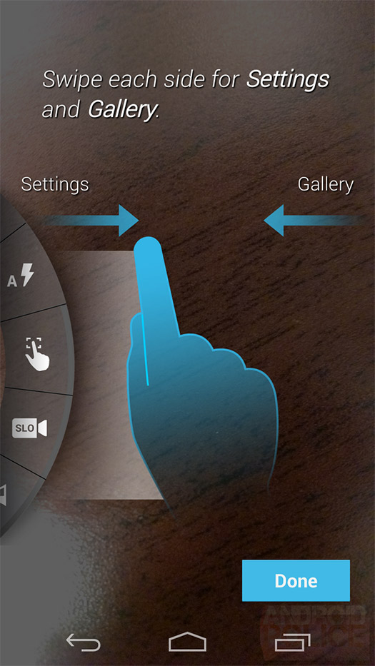 Motorola Moto X cámara Swipe opciones