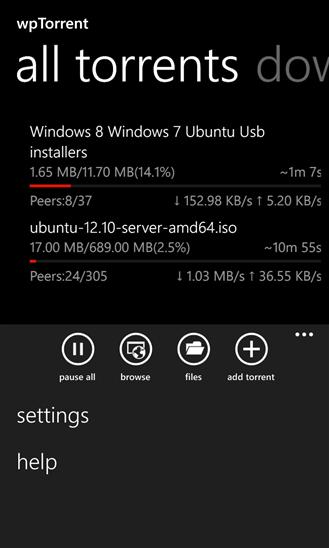 wPtorrent en Windows Phone
