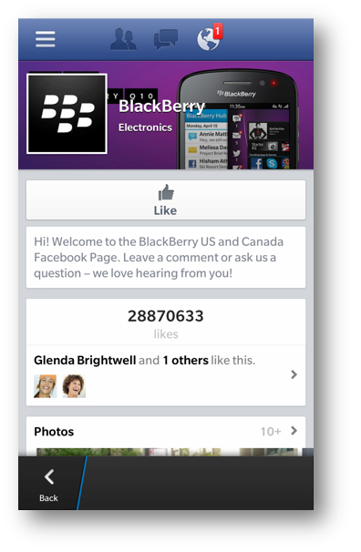 Facebook app para BlackBerry 10 v10.2.1