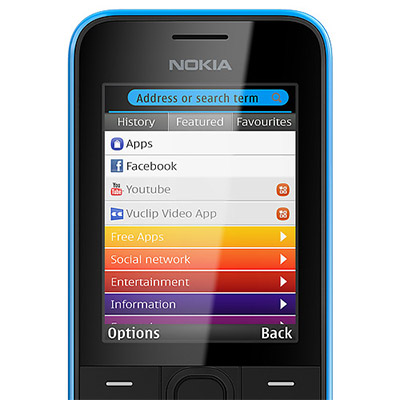 Nokia 208  en México: Facebook, Nokia Xpress, Youtube