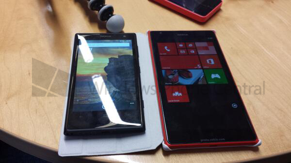 El Nokia Lumia 1520 phablet se muestra en primer imagen junto al Lumia 1020