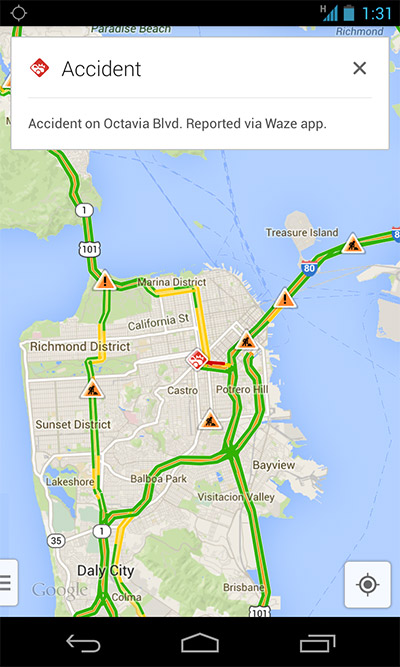 Google Maps con reporte incidente de Waze
